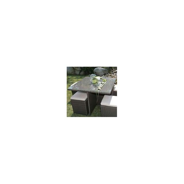 Delamaison - Table carrée 100x100 Valras alu/résine tressée ...