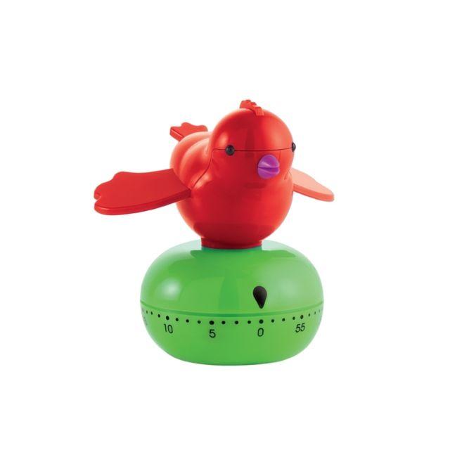 Guzzini Minuteur oiseau - Vert et rouge - Timer Emy