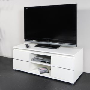 no name meuble tv vid o como 110 cm 2 portes 1 niche blanc pas cher achat vente. Black Bedroom Furniture Sets. Home Design Ideas