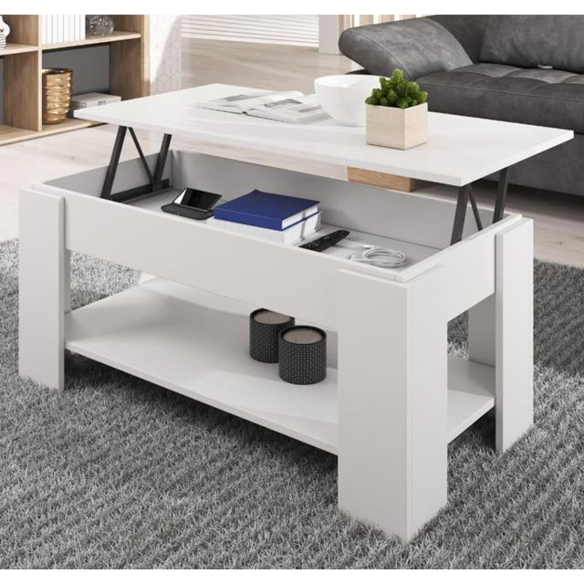 Design Ameublement Table basse relevable Nicoleta blanche