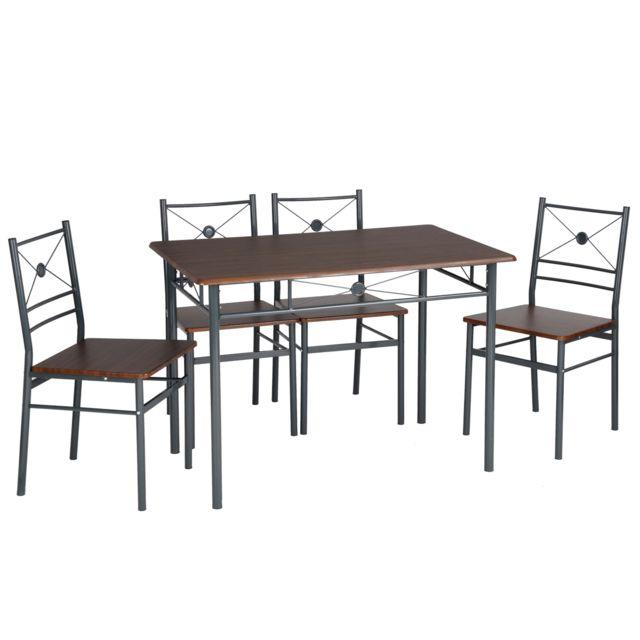 Sans Marque Set 1 Table 4 Chaises Noyer Wengé