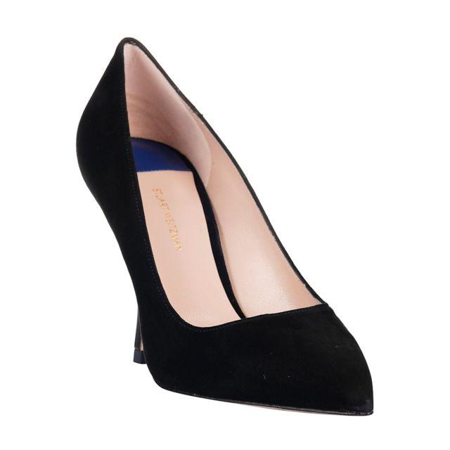 Stuart Weitzman Femme Tipp95BLACK Noir Cuir Escarpins