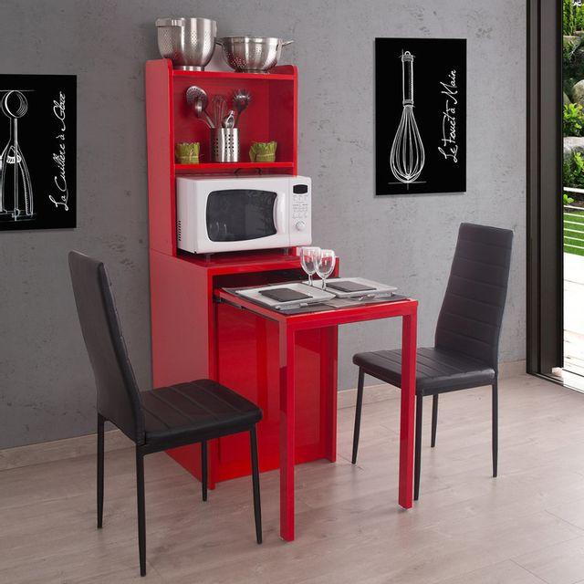 Somobilia Buffet en bois rouge avec table salle à manger à rallonges Kiwi