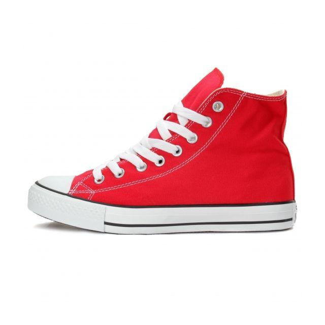Converse - Fashion / Mode All Star Hi Rouge - Tige toile, semelle intérieure textile, bout et semelle extérieure caoutchouc.