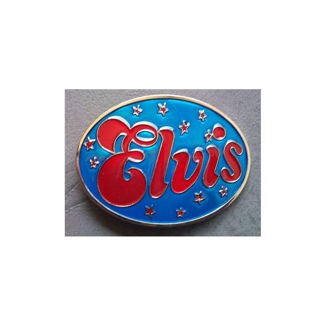 Universel - Boucle de ceinture elvis presley bleu et etoile rouge king 5ee872c8fbe