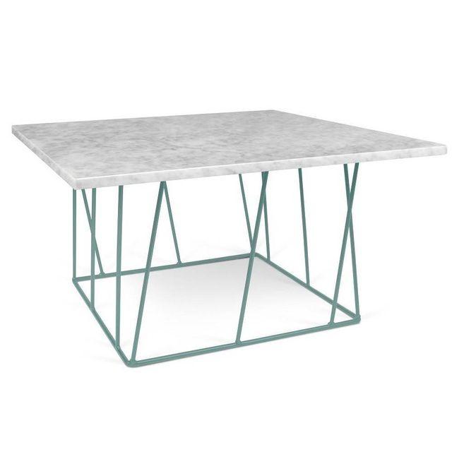 Inside 75 Tema Home Table basse carrée Helix 75 en marbre blanc structure laquée verte