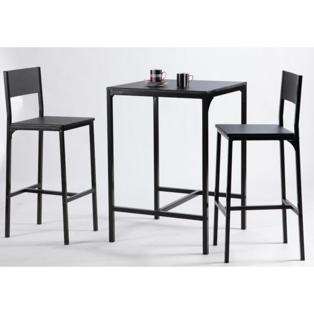 Rocambolesk Set 1 Table + 2 Chaises Kool Noir 365746