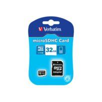 Verbatim - Carte mémoire flash adaptateur microSDHC - Sd inclus e - 32 Go - Class 4 - microSDHC