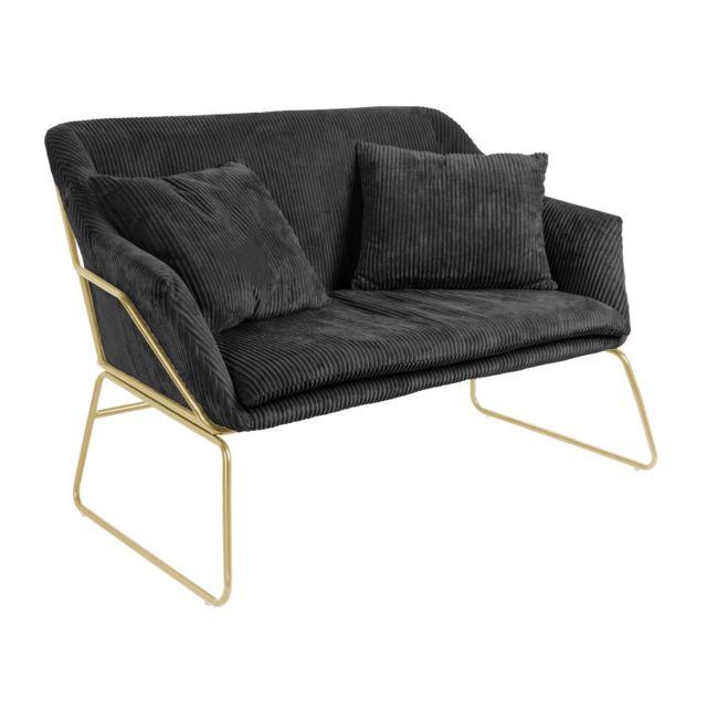 LEITMOTIV Canapé vintage en velours côtelé Glam - 2 Places - Noir