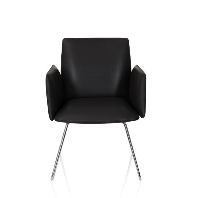 Hjh Office Chaise visiteur / chaise au piètement traîneau Designia V similicuir noir