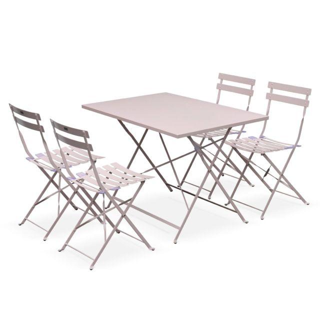 Salon de jardin bistrot pliable - Emilia rectangulaire rose pale - Table  110x70cm avec quatre chaises pliantes, acier thermolaqué