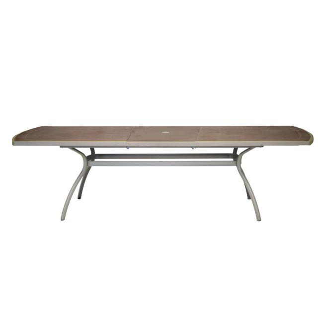 Evolutif - Table de jardin extensible en Aluminium et Résine 210 ...