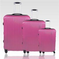 Travelland - Set de 3 valises légères et robustes Trolley coque rigide Abs 4 Roues - Rose