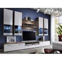 Asm-mdlt - Ensemble meuble Tv Dorade en prunier et blanc de haute brillance avec Led