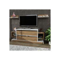 alphamoebel meuble tv mural magic blanc noyer 134x575x295cm