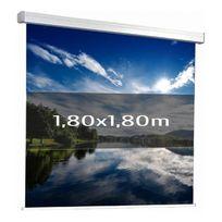 Kimex - Ecran de projection manuel 1,80 x 1,80m, Multi-format, Toile blanche
