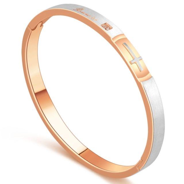 Wewoo - Bracelet or rose Mode Femmes Bijoux le de Couple de Style Croix  Acier Titane 47c4da322c4