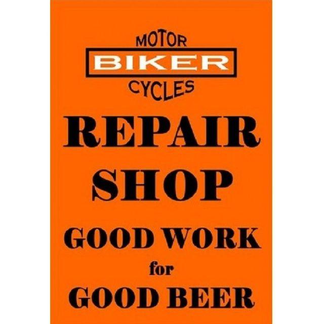 Universel Plaque repair shop moto orange affiche déco garage bar