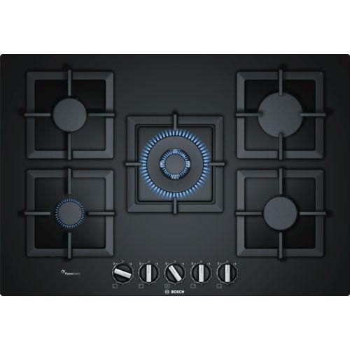 bosch table de cuisson gaz 75cm 5 foyers verre noir. Black Bedroom Furniture Sets. Home Design Ideas