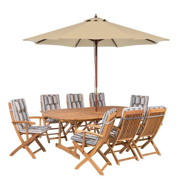 Salon de jardin avec parasol et coussin beige et bleu Maui