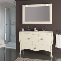 Stylo - Meuble sur pieds 120cm 2 portes 1 tiroir Alcazar Blanc + 2 vasques céramique