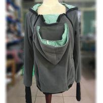 e73ebe937e81 Porte bébé gris et vert Trois-en-un mère multifonctions Kangourou Zipper  Hoodie Taille