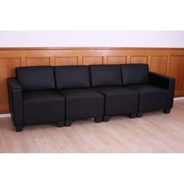 MENDLER Canapé 4 places lounge/salon Lyon, système modulaire, simili-cuir, noir