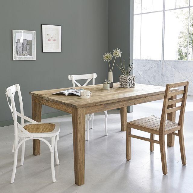 bois dessus bois dessous table en bois de teck recycl avec rallonges 8 10 couverts 100cm x. Black Bedroom Furniture Sets. Home Design Ideas