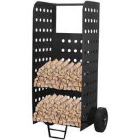 Rocambolesk - Superbe Chariot de bois de chauffage avec Perforations décoratives neuf