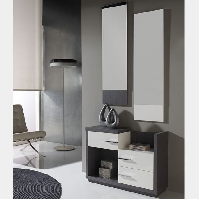 Nouvomeuble Meuble d'entrée couleur bois gris et blanc moderne Matera
