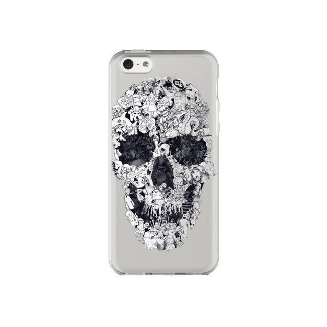 coque iphone 5c doodle skull dessin tete de mort transparente ali gulec