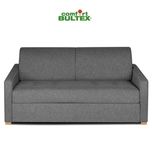 Inside 75 Canapé convertible rapido Dandy matelas 140cm comfort Bultex® mono assise capitonnée tissu tweed gris silex