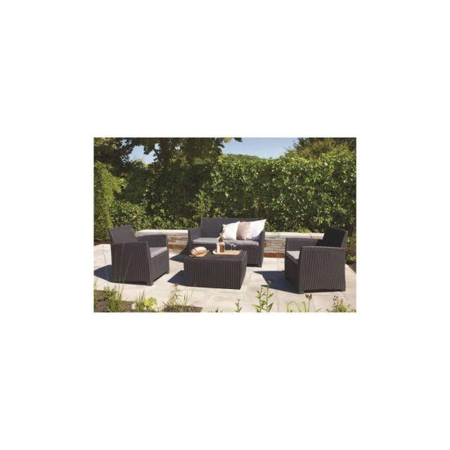 Allibert Salon de jardin Corona 4 places imitation resine tressee - Gris