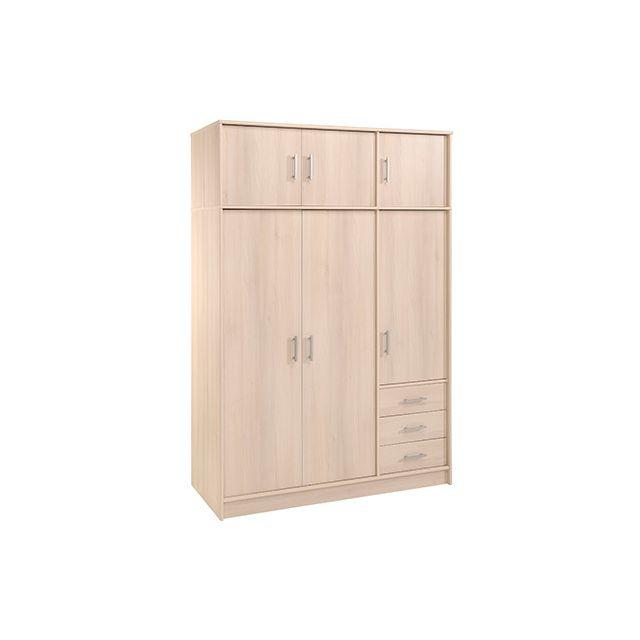 Armoire avec surmeuble 2/3 penderie 1/3 lingère - acacia clair Beige - 55cm x 195cm x 130cm