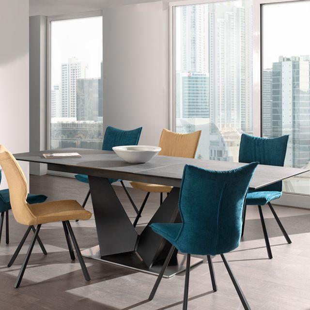 Nouvomeuble Table à rallonge en céramique et métal Mosta