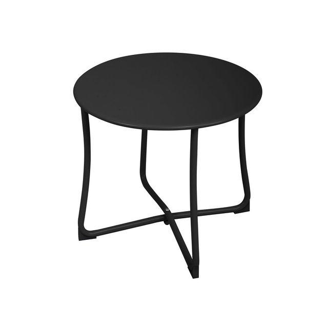 Kaligrafik Table basse ronde en acier pieds croisés diamètre 40cm Chess Noir