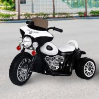 HOMCOM - Moto électrique pour enfants chopper police 6 V env. 3 Km/h 3 roues effet lumineux et sonore noir et blanc neuf 32