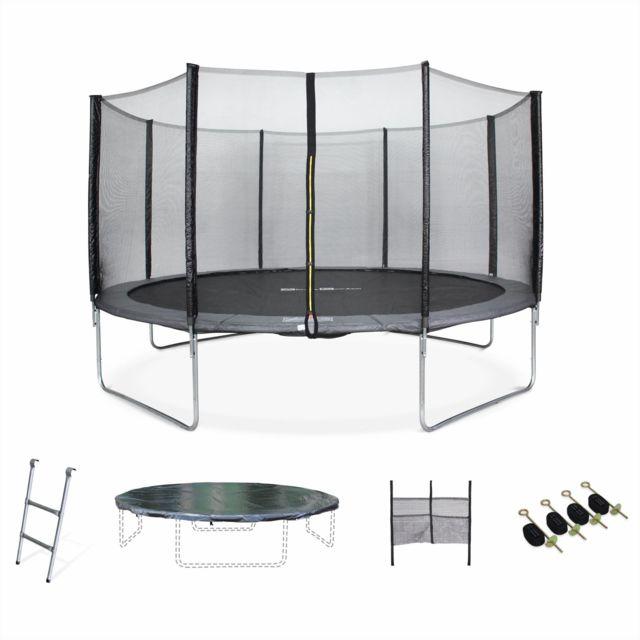 alice 39 s garden trampoline 430cm gris avec filet de protection chelle b che filet pour. Black Bedroom Furniture Sets. Home Design Ideas