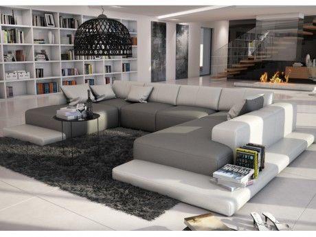 marque generique canap panoramique 7 places en simili. Black Bedroom Furniture Sets. Home Design Ideas