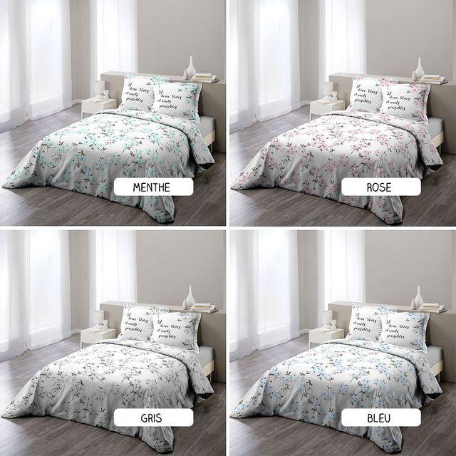sans marque housse de couette 220 x 240 cm taies ashley diff rents coloris rose pas. Black Bedroom Furniture Sets. Home Design Ideas