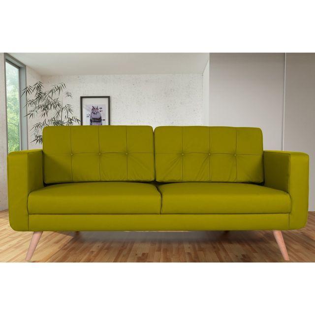 Rocambolesk Canapé fixe Hedvig 3 Pu Soft 13 Apple sofa divan