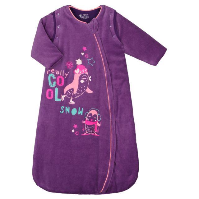 b46d956ea803a Petit Beguin - Gigoteuse d hiver en velours manches amovibles Pretty Ice -  Taille - 0 6 mois Long. 75cm Violet - pas cher Achat   Vente Pyjamas
