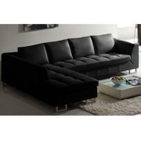 Linea Sofa - Canapé d'angle en cuir Alicante - Noir - Angle gauche