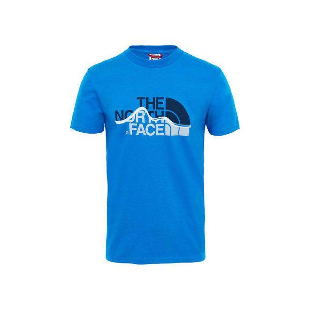 d3c5ebc58234c The north face - T-shirt Mountain Line à manche courte bleu clair blanc - pas  cher Achat / Vente Chemises, tee-shirts, débardeurs - RueDuCommerce