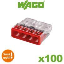 Wago - Boite de 100 mini bornes de connexion automatique 4 entrées S2273