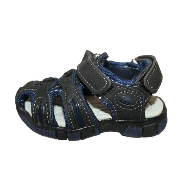 Sandales nu pieds garçon noire et bleu