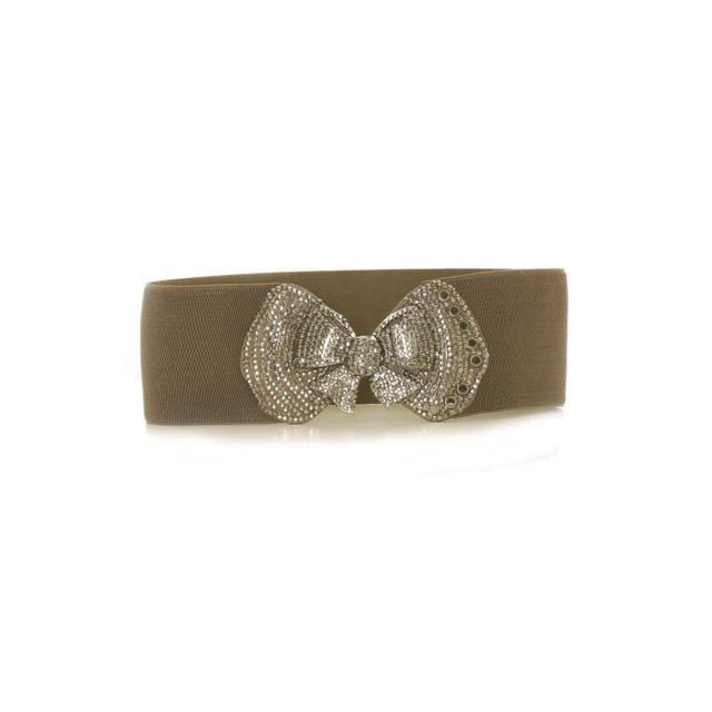 Grossiste-en-ligne - Ceinture Taupe elastique avec Noeud à strass - Sg - 7efc5a50ce7