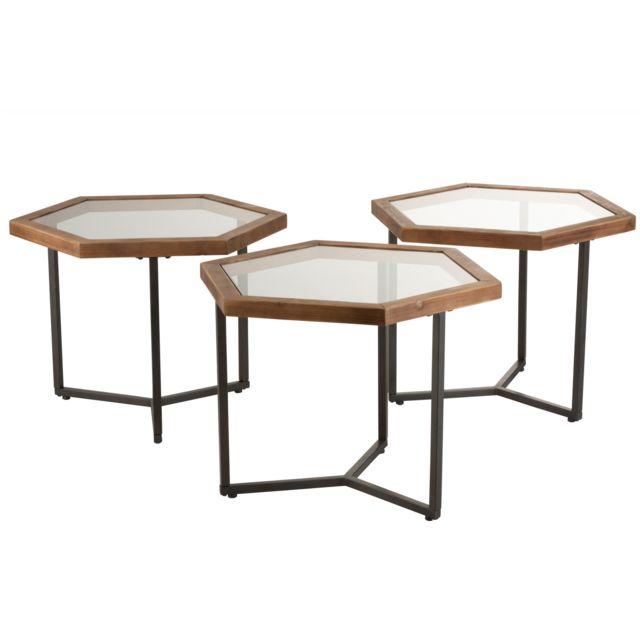 HELLIN Bouts de canapés style industriel Set de 3