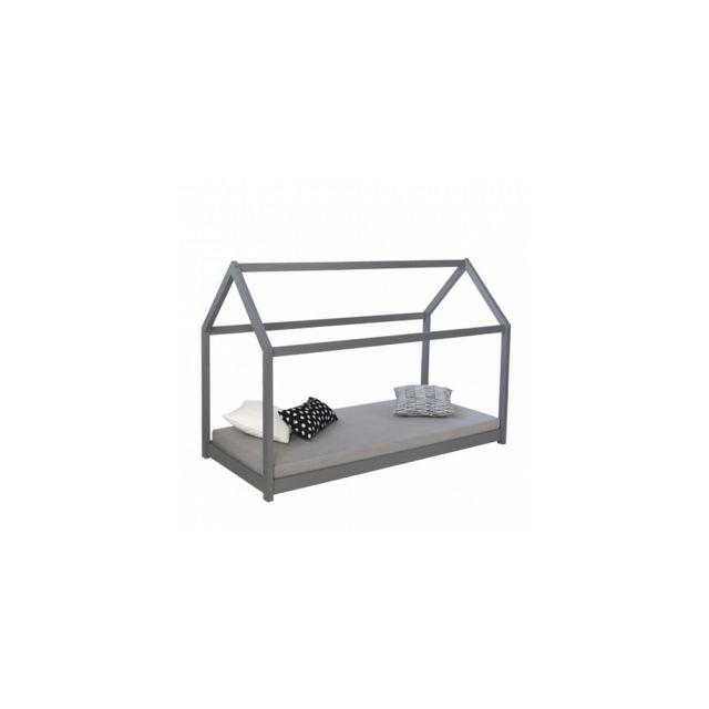 Homestyle4U Lit d'enfant Maison en bois gris 90 x 200cm