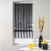 Douceur D'INTERIEUR - Un store droit à passant - rideau voile sable raye malta anthracite 45 x 180 cm